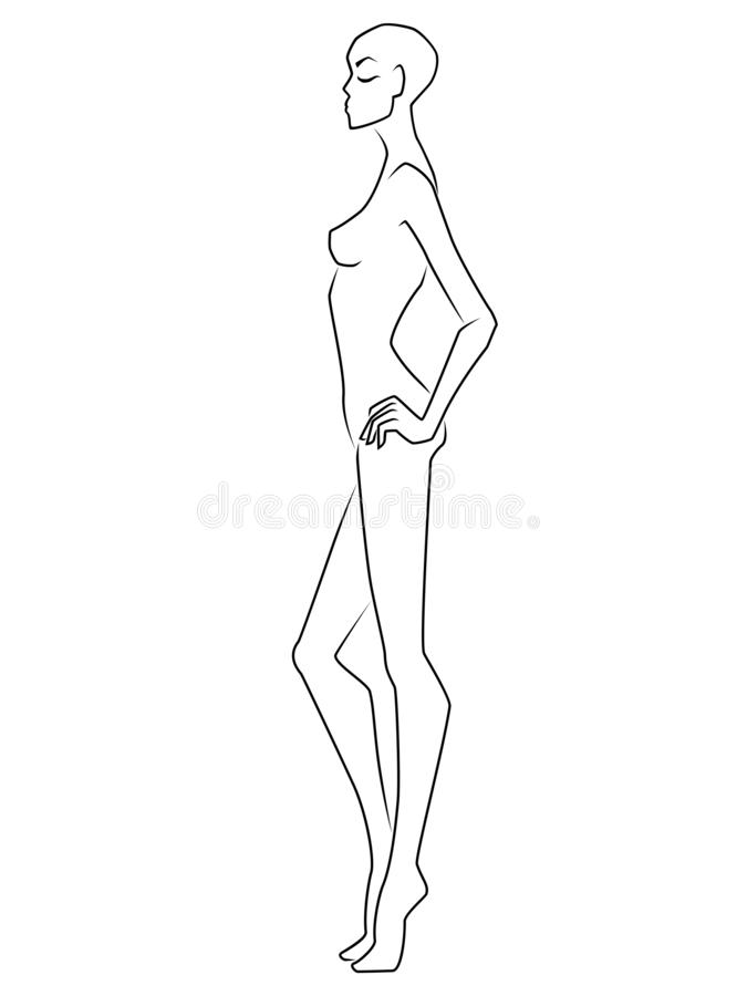 Abstract graceful end elegant lady. Abstract graceful woman with closed eyes and bald head isolated on the white background, view on side, hand drawing outline