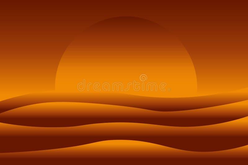 Abstract gradiëntlandschap van zonsondergang over het overzees royalty-vrije illustratie