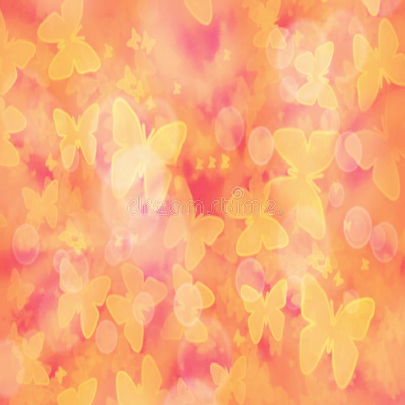 Abstract gradient blurred background with yellow butterflies and bokeh effect royalty free illustration