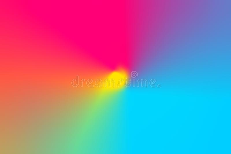 Abstract gradient blurred multicolored rainbow light spectrum radial background. Radial concentric pattern. Vivid neon Colors royalty free stock photos