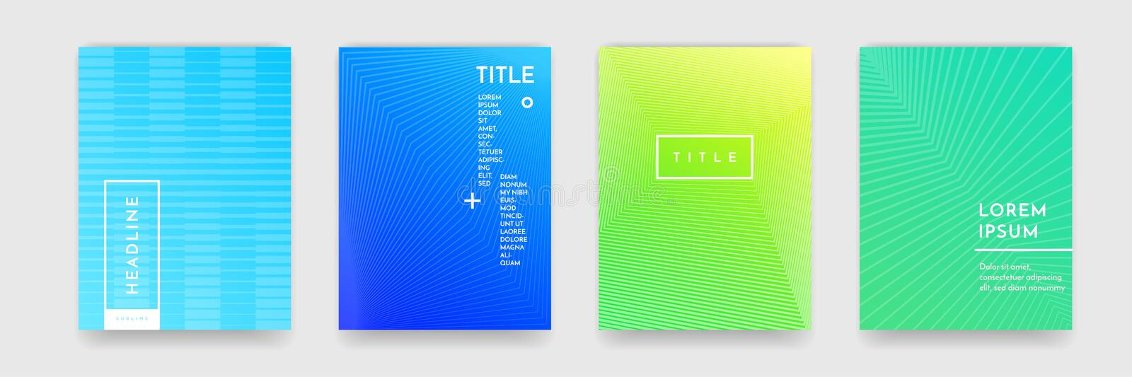 Abstract gradient color pattern texture for book cover template vector set royalty free illustration