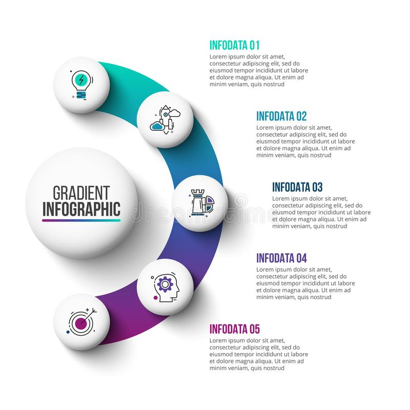 Abstract gradient diagram with 5 steps. Business data visualization. Abstract gradient elements of graph, diagram with 5 steps, options, parts or processes stock illustration