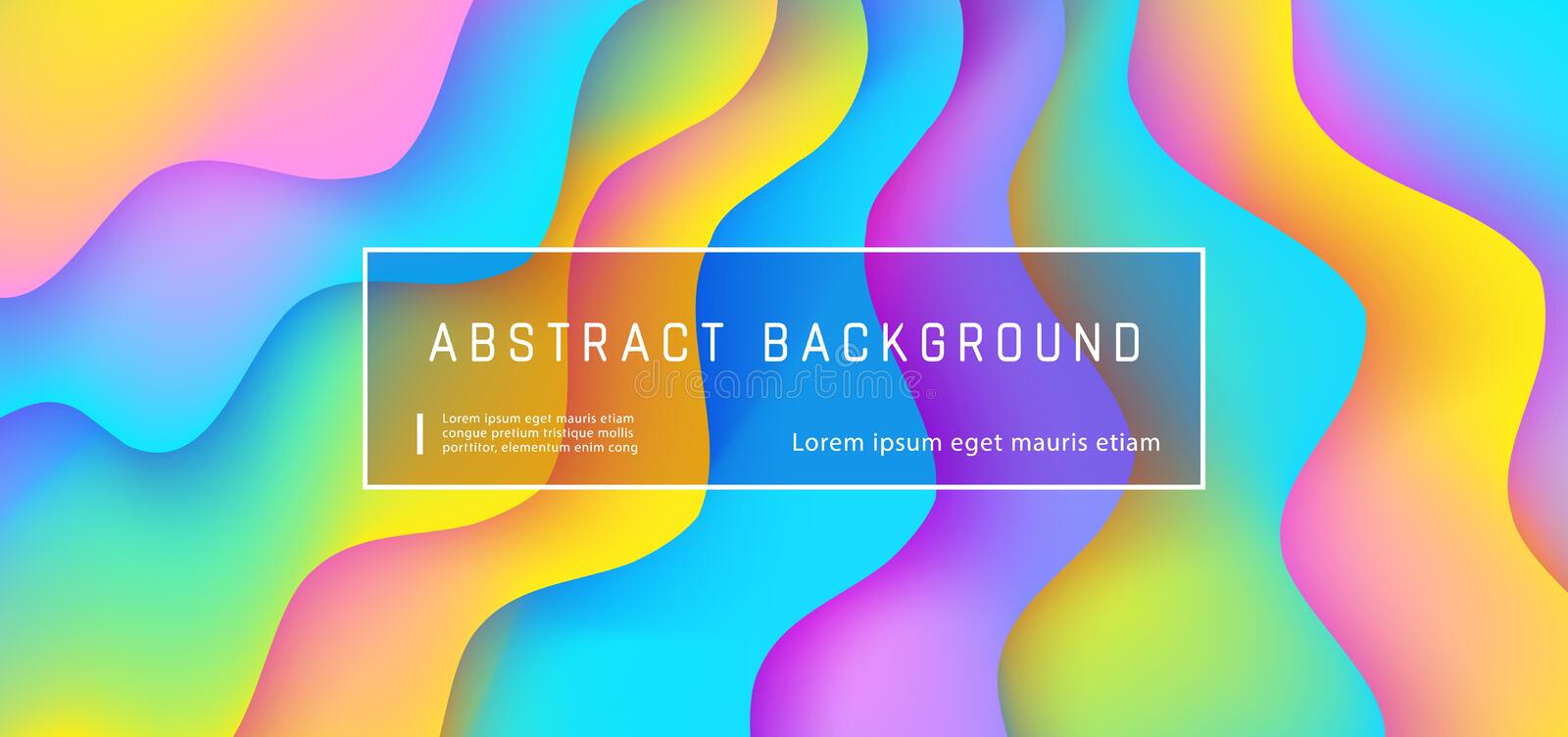 Abstract gradient fluid background with expressive rainbow wave motion flow and liquid neon shapes composition. Abstract gradient fluid background with royalty free illustration