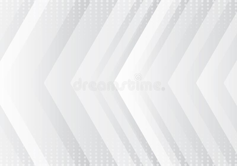 Abstract gradient gray and white arrows pattern technology futuristic concept background with halftone texture royalty free illustration