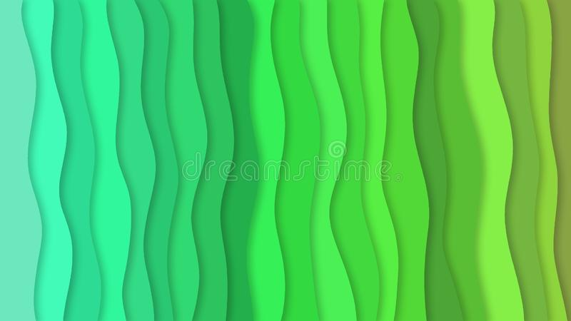 Abstract gradient green color waves and shadows royalty free illustration