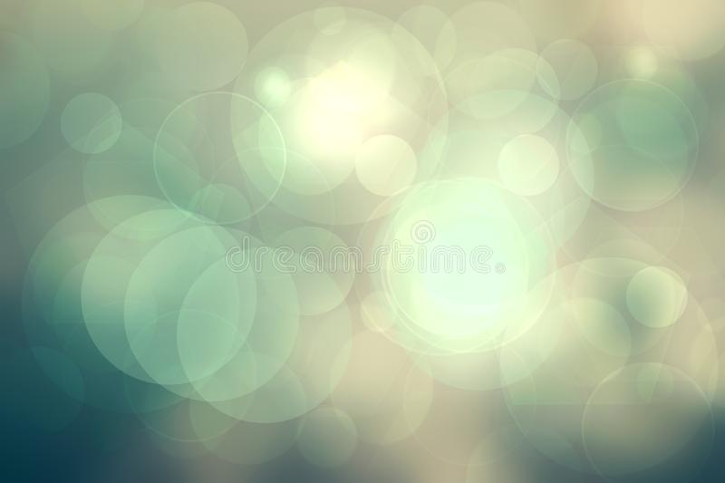 Abstract gradient light green turquoise shiny blurred background texture with circular bokeh lights. Beautiful backdrop. Space for. Design vector illustration