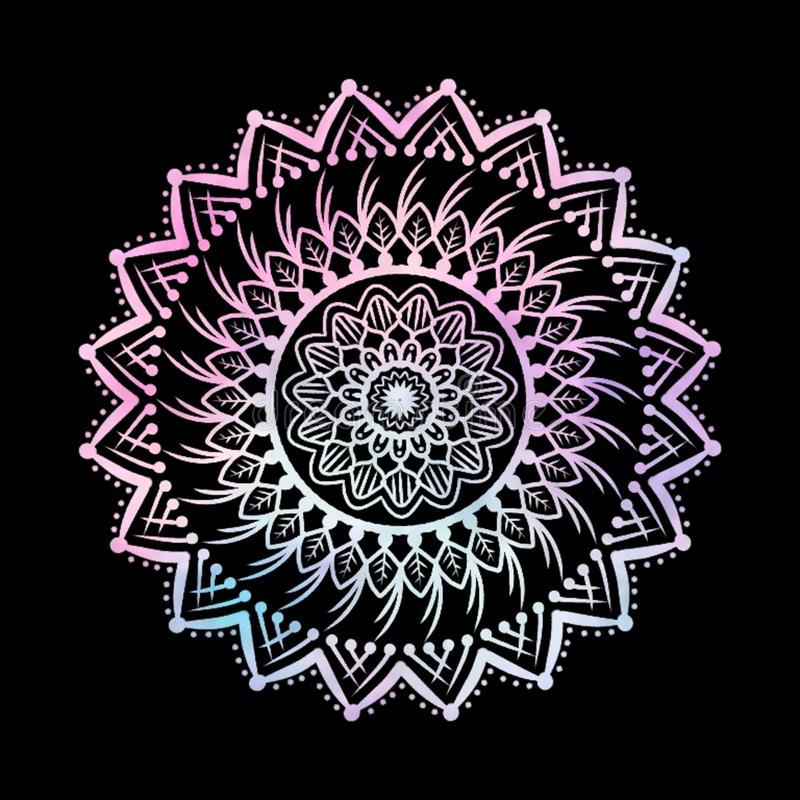 Abstract Gradient Pastel Mandalas on Isolated Black Background vector illustration
