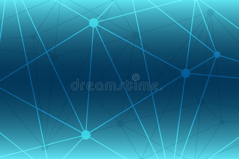 Abstract gradient vector background. Blue polygonal network pattern. Lines and circles connected illustration for technology. Science, neural, structure, net vector illustration