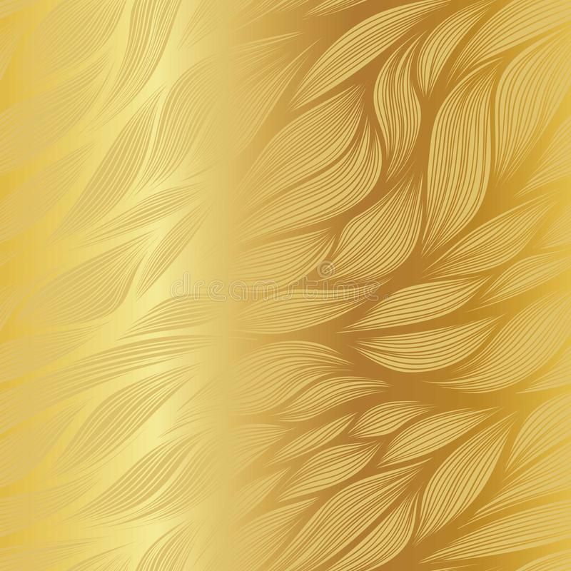 Abstract gradient vector leaf doodle pattern on metallic gold background. royalty free illustration