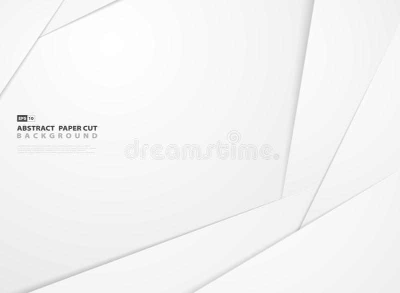 Abstract gradient white paper cut shape pattern design background vector illustration