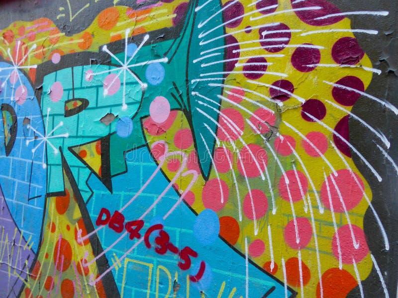 Abstract graffiti. Colorful Abstract graffiti drawn on the wall on Moganshan road in Shanghai China royalty free stock photography
