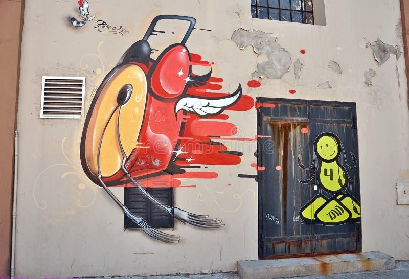 Abstract graffiti wall stock illustration
