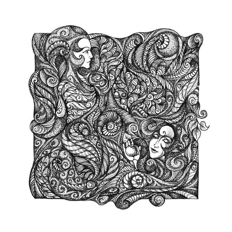 Abstract grafisch beeld op de themameisjes, bloemen, bloemenorn stock illustratie