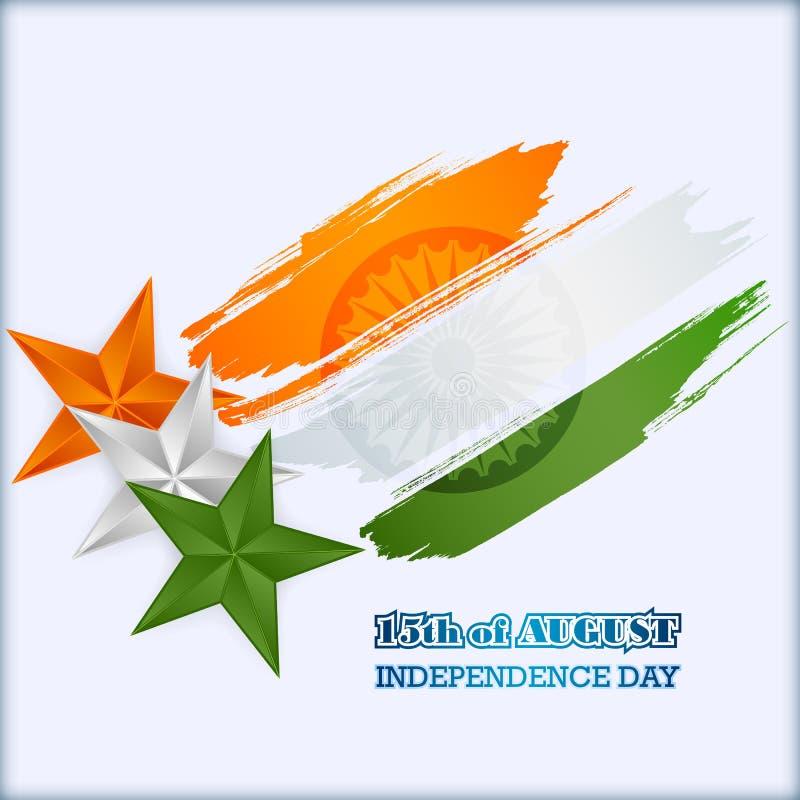 Abstract grafisch, ontwerp, vakantiemalplaatje met oranje, witte en groene sterren in nationale vlagkleuren voor Indische Onafhan vector illustratie