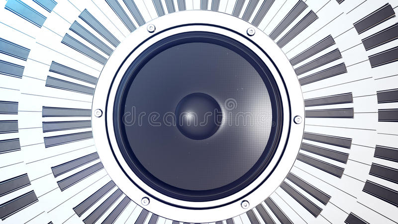 Abstract grand piano keys in a circle over an audio monitor royalty free illustration