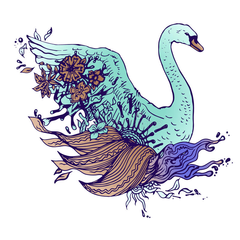 Abstract graphic colored swan, print. Colored swan . Engraving sketch. Abstract vector bird with flowers. Print for t-shirt. Wild things stock illustration