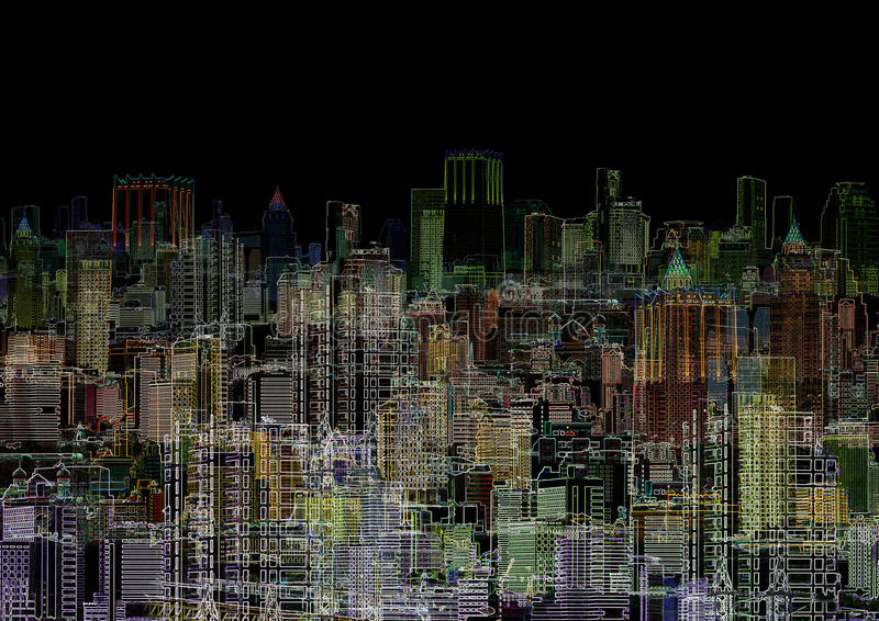Abstract graphic composition - night metropolis. An abstract graphic composition - a night metropolis stock illustration
