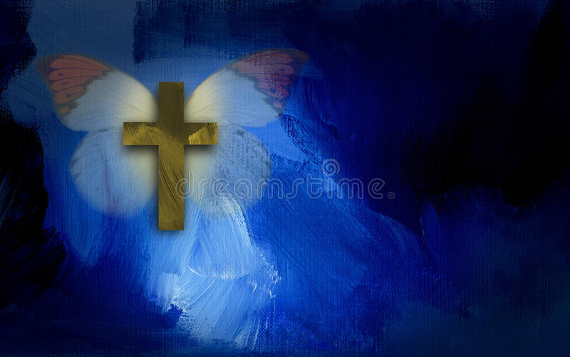 Abstract graphic with cross and butterfly wings. Abstract graphic illustration composed of Christian cross and butterfly on blue dramatic textured brush stroke stock illustration
