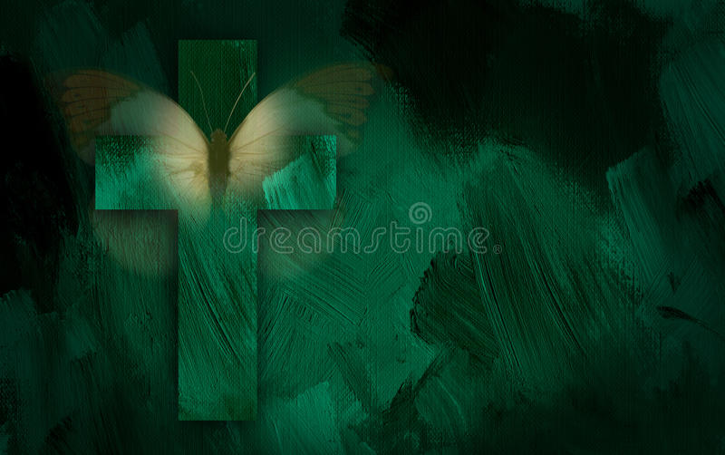 Abstract graphic with cross and faded butterfly wings. Abstract graphic composed of Christian cross and symbolic butterfly on green dramatic textured brush royalty free illustration