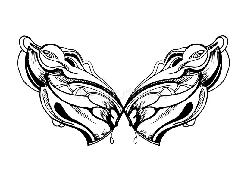 Download Abstract Graphic Design In Black And White Wings Stock Vector - Image: 23609963