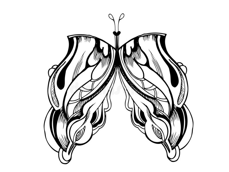 Abstract graphic design butterfly. A abstract graphic design butterfly in black and white stock illustration