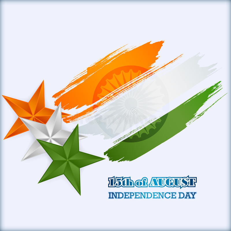 Abstract graphic, design, holidays template with orange, white and green stars in national flag colors for Indian Independence Day vector illustration
