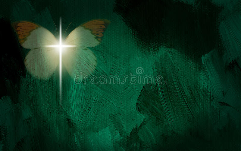 Abstract graphic with glowing cross and butterfly wings. Abstract graphic composed of glowing Christian cross and butterfly on green dramatic textured brush stock illustration