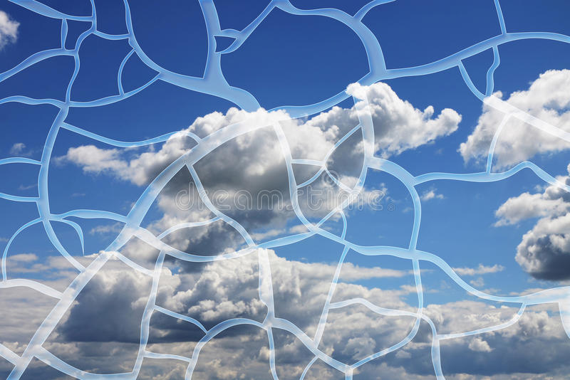 Abstract graphic image with cloudy sky in background.  royalty free stock photo