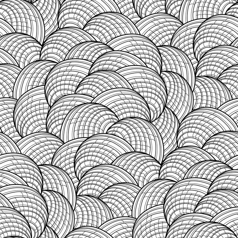 Abstract graphic seashells pattern. Abstract graphic seashells seamless pattern. Vector ornament drawn in line art style on white background. Coloring book page royalty free illustration