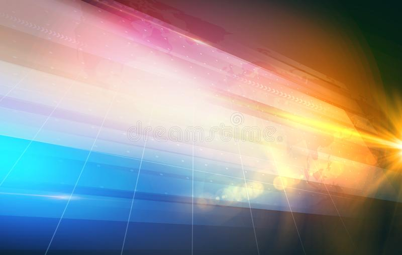Abstract graphical studio display background with lens flare at right edge concept series royalty free illustration