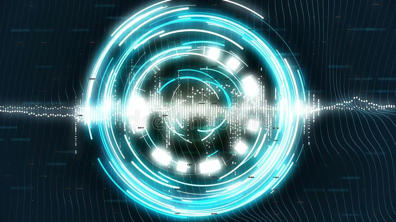 Graphics with blue rotating circles on sci-fi background. vector illustration