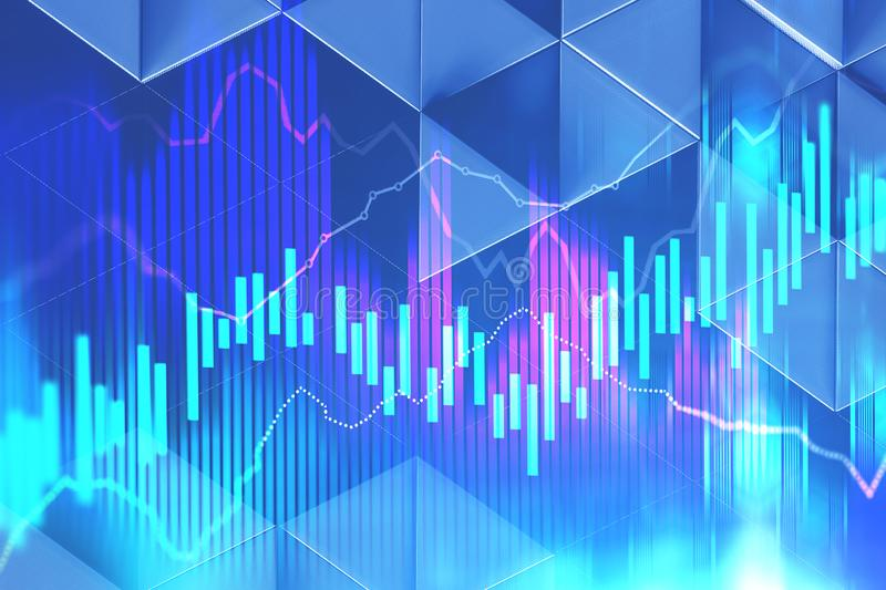 Abstract graphs over blue background royalty free stock image