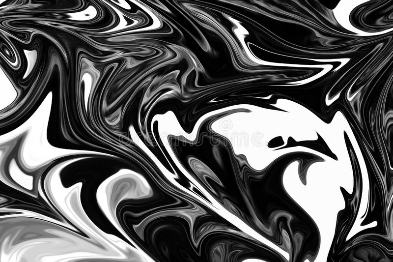 Abstract Gray Black and White Marble Ink Pattern Background. Liquify Abstract Pattern With Black, White, Grey Graphics Color Art royalty free illustration