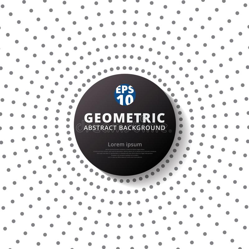 Abstract gray color dots pattern halftone radius with black circle label on white background. vector illustration