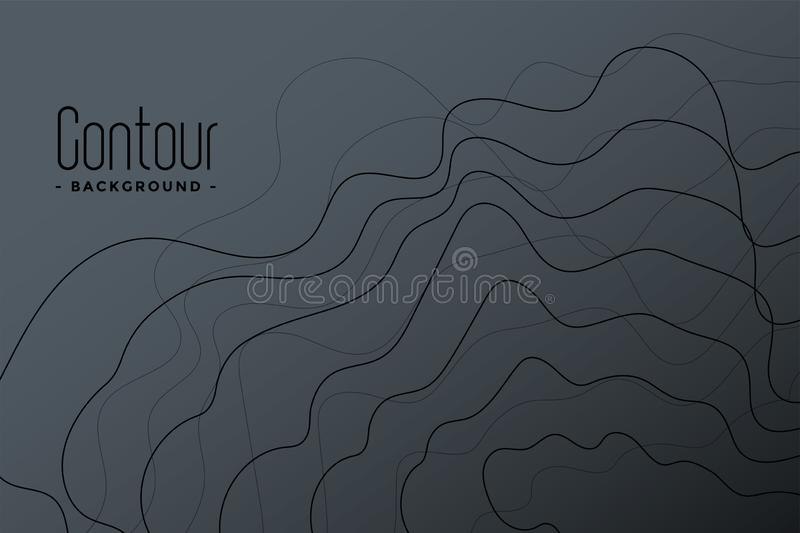 Abstract gray contour lines background design. Vector vector illustration