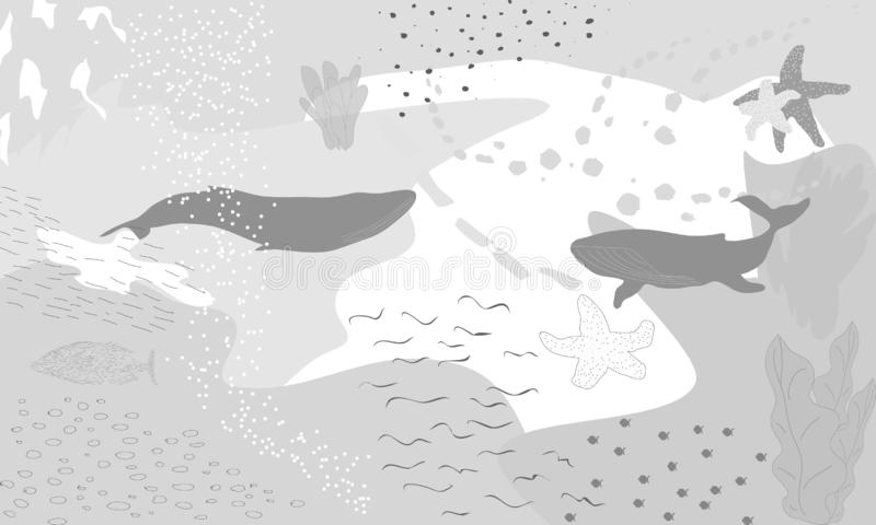 Abstract fantasy underwater. Illustration Semi abstract art. Image of fish in sea. Hand painted, children painting. Abstract gray fantasy underwater vector illustration