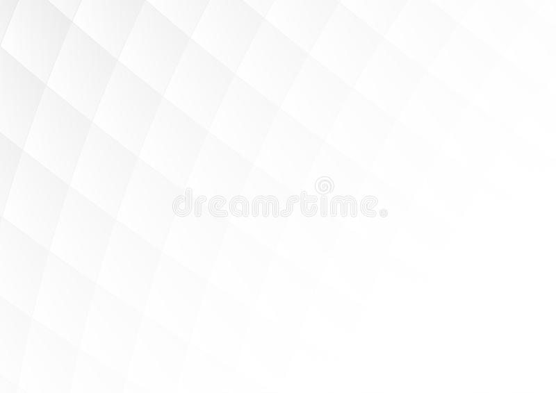 Abstract gray gradient square shapes on white background with soft light and copy space. stock illustration