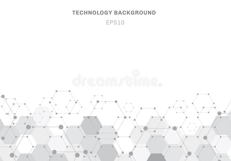 Abstract gray hexagons pattern molecule on white background with copy space vector illustration