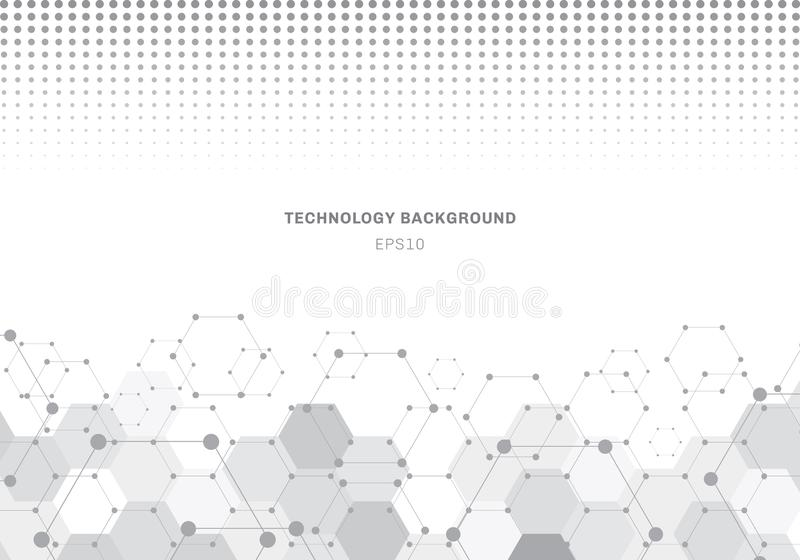 Abstract gray hexagons pattern molecule on white background with halftone texture. Geometric elements for design template modern. Communications, medicine stock illustration