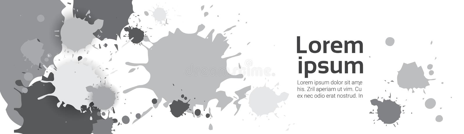 Abstract Gray Paint Splash Set Over White Background For Copy Space And Text royalty free illustration