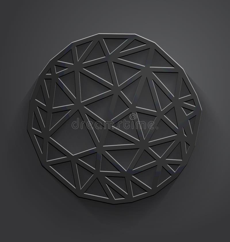 Abstract gray polygonal circle vector illustration