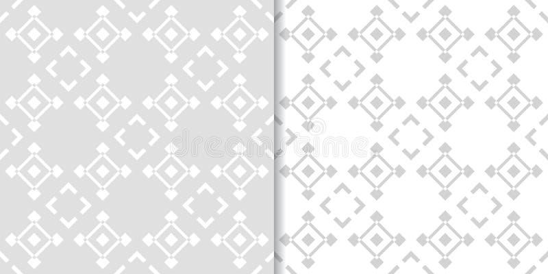 Abstract gray seamless pattern set. Geometric shape royalty free illustration