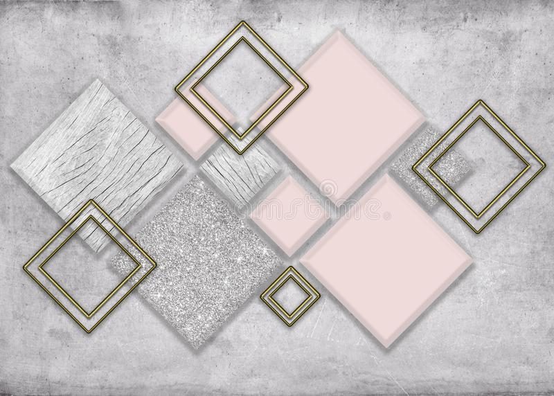 Abstract grayscale hexagon pattern design background wallpaper 3d metal gray wallpaper royalty free illustration