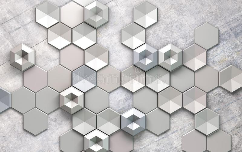 Abstract grayscale hexagon pattern design background wallpaper 3d metal wallpaper stock image