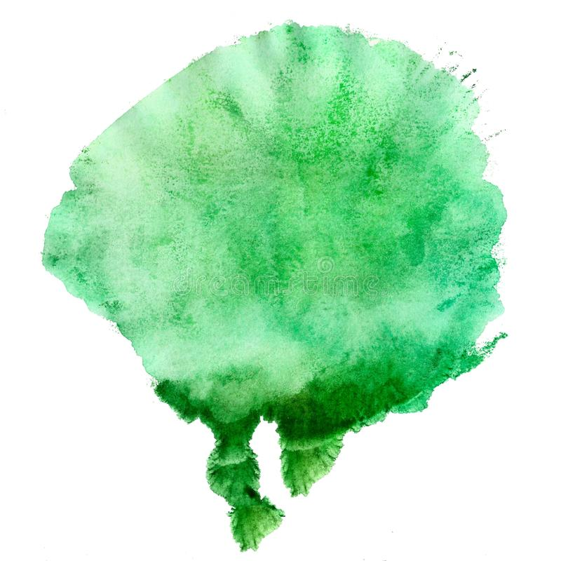 Abstract green acrylic painted spot. Monotyped hand drawn grunge stain. vector illustration