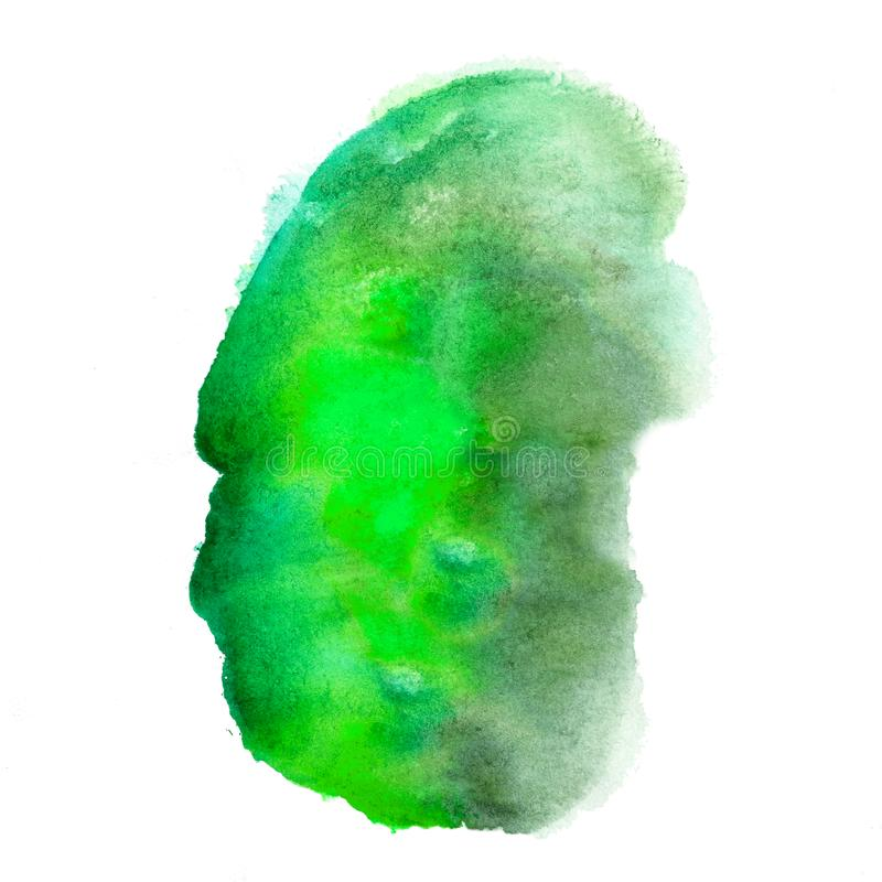 Abstract green acrylic painted spot. Monotyped hand drawn stain. stock illustration