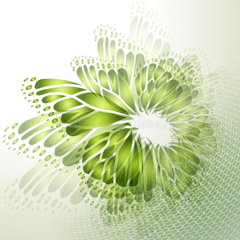 Abstract green background with butterfly. Wings stock illustration