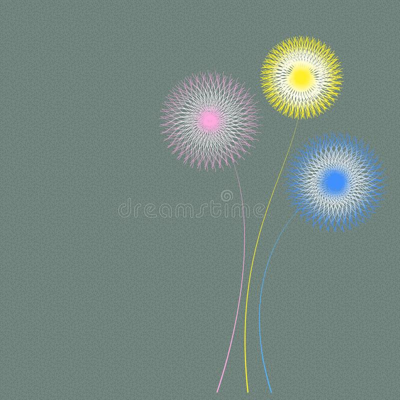 Abstract green background with colored flower. Pink,yellow and blue color flowers stock illustration