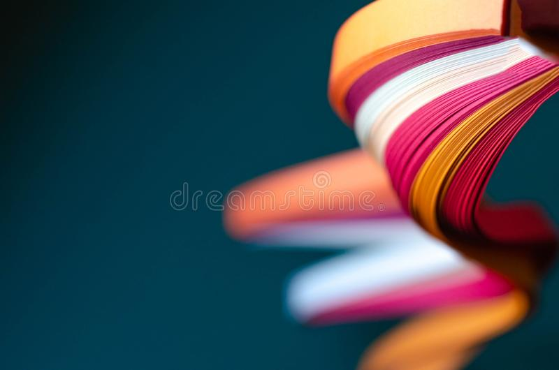 Abstract green background with orange, burgundy and white stripes. Background for text or logo stock image