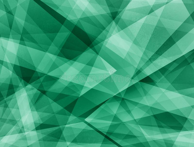Abstract green background with triangles and rectangle shapes layered in contemporary modern art design stock photo